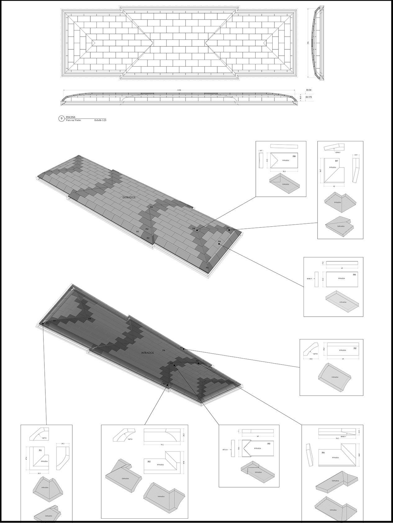 plan technique 3D pierre de taille